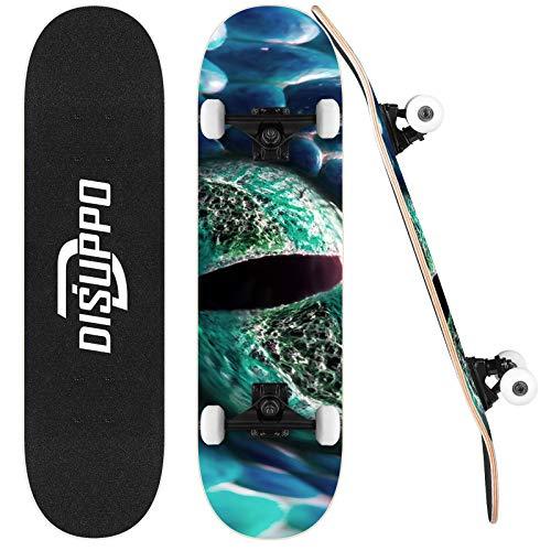 DISUPPO 31 'x 7.8' Pro complet Skateboards, Planches à roulettes pour débutants, 7 couches A-level Maple Double Kick Concave Standard et Tricks Longboards, Pour enfants/adolescents/adulte
