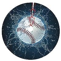 Pengfly 野球 ボールリトルツリースカート ボールクリスマスツリースカート 全幅片面印刷、ポリエステル素材 耐久性、色あせなし、柔らかく、軽く、手触りが良い クリスマス、ハロウィーンの場合