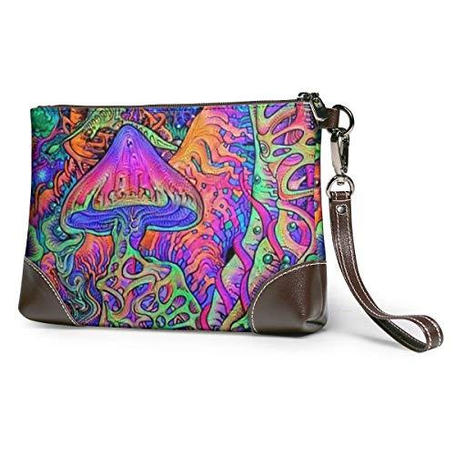 Ahdyr Damen Leder Clutch Geldbörsen Clutch Telefon Brieftaschen Trippy Mushrooms Badehose Leder Small Wristlet Geldbörsen Handtasche