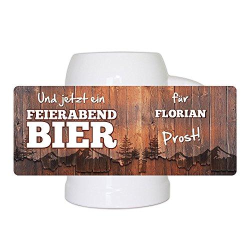 Bierkrug mit Namen Florian und schönem Feierabendbier-Motiv | Bier-Humpen | Bier-Seidel