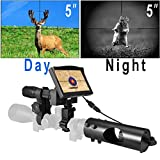 """Night Vision Monoculars with HD Camera and 5"""" Screen Infrared Illuminator for Riflescope"""