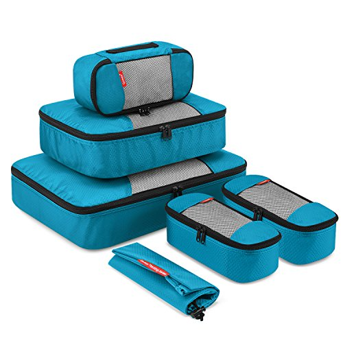 Gonex 6 Set Travel Packing Cubes, Luggage Packing Organizer Set for Bag & Suitcase With Laundry Bag Blue