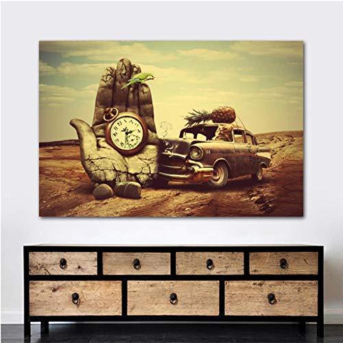Canvas schilderij wanddecoratie klassieke kunst hand, klok, auto, ananas, papegaai prints poster muurkunst voor de woonkamer 40x60cmx1 zonder lijst