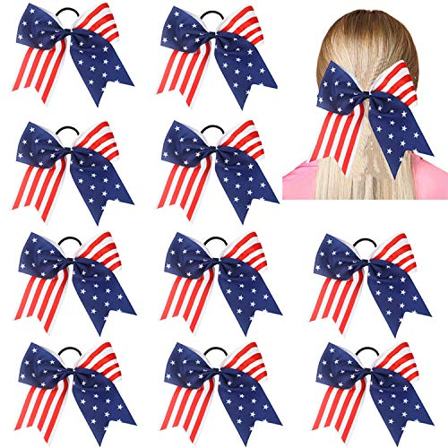 Hipcheer 10pcs American USA Flag Cheer Bows for Girls ,Red White and Blue Patriotic Flag Festival Hair Bow With Elastic Band Hair Accessories