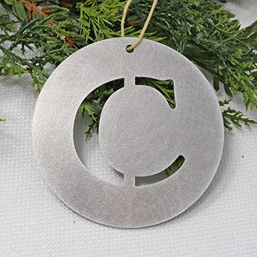 Letter C Metal Monogram Christmas Ornament