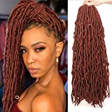 24 Inch 6 Packs New Faux Locs Copper Red Goddess Faux Locs Curly Wavy Hair 21 Strands Pre-Looped Synthetic Most Natural Soft Locs Crochet Dreadlock Hair Extend for Woman (24 Inch, 350#)