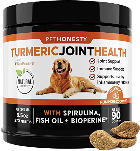 PetHonesty Turmeric Joint Health for Dogs - Hip & Joint Supplement Soft Chews with Turmeric  BioPerine  Fish Oil & Coconut to Support Joint Health  Ease Stiffness - Promotes Digestive & Immune Health