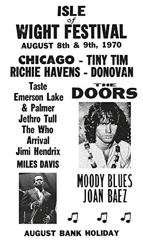 "Isle of Wight Festival - The Doors - Miles Davis - Jimi Hendrix - The Who 13""x22"" Vintage Style Showprint Poster - Concert Bill - Home Nostalgia Decor Wall Art Print"