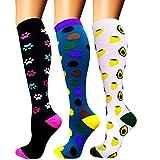 Calcetines de compresión para mujeres y hombres: los mejores calcetines médicos, para correr, enfermería, circulación y recuperación, senderismo, viajes y vuelo, 20-25 mmHg A04-multicolor-3 pairs L/XL