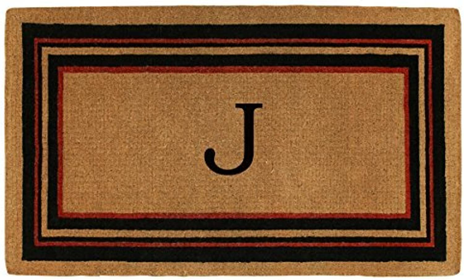 Home & More 180061830J Esquire Extra-Thick Doormat, 18  x 30  x 1.50 , Monogrammed Letter J, Natural Black Red