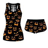 ZEFOTIM Women 2 Piece Halloween Outfits, U-Neck Funny Loose Shirt Skinny Short Pants Sportwear Tracksuits Jogger Set Activewear