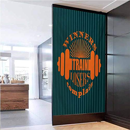 W 23.6' x L 47.2' Frosted Window Film UV Blocking Heat Control Glass Sticker,Winners Train Losers Complain Quote Design Dumbbell Icons Bodybuilding Petrol Blue Teal Orange