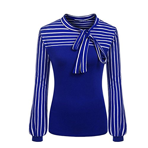 TOPUNDER 2018 Women Tie-Bow Neck Shirt Striped Long Sleeve Splicing Blouse (Blue, XX-Large)