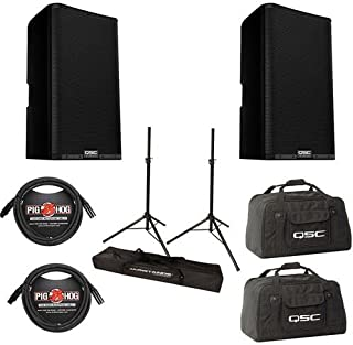 QSC 2x K12.2 K.2 Series 12in 2-Way 2000 Watt Powered Speaker - with 2x 20' 8mm XLR Mic Cable, 2x QSC Nylon/Cordura Soft Padded Tote Bag, Ultimate JamStands JS-TS50 Tripod-Style Speaker Stand, Pair