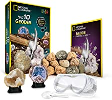 NATIONAL GEOGRAPHIC Break Open 10 Premium Geodes – Includes Goggles, Detailed Learning Guide & 2 Display Stands - Great...