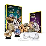 National Geographic Break Open 10 Premium Geodes – Includes Goggles, Detailed Learning Guide & 2 Display Stands - Great Stem Science Gift for Mineralogy & Geology Enthusiasts of Any Age