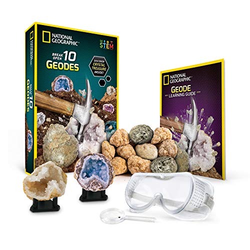 National Geographic Break Open 10 Premium Geodes – Includes Goggles, Detailed Learning Guide & 2 Display Stands - Great Stem Science Gift for Mineralogy & Geology Enthusiasts