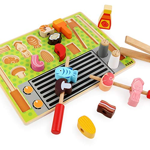 Smklcm Jigsaw Puzzle Children's Early Education Game Toys Cognitieve fruit Keukengerei Ice Cream Set Game Toys (Color : Barbecue shop)
