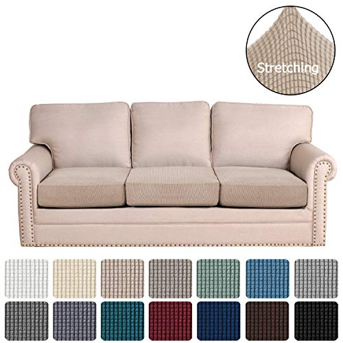 H.VERSAILTEX Super Stretch Stylish Cushions Covers/Furniture Cover Spandex Jacquard Small Checked Pattern Super Soft Slipcover Washable Individual (3-Piece Sofa Cushion, Sand)