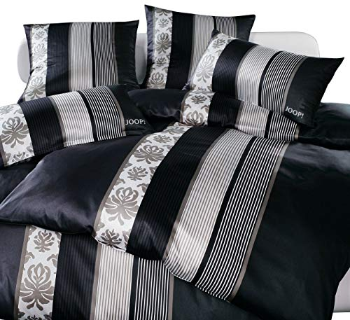 Joop! Mako Satin Bettwäsche Ornament Stripes 4022/9 schwarz 135x200 cm