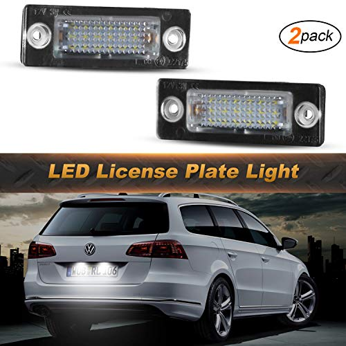 OZ-LAMPE 2 x LED Number License Plate Light Rear Lamps 18SMD White with Error Free Waterproof for Cadd-y Golf Plus Jetta T5 7H 7J Touran