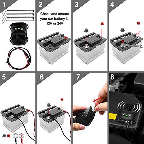 Loraffe Under Hood Animal Repeller Rodent Repellent Ultrasonic Rat Deterrent LED Strobe Lights Keep Mice Away from Car Pest Control 12V 24V Vehicle Rodent Defense Vehicle Protection