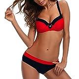Bikini Mujer Push-up con Relleno Grueso con Acero Acolchado Bra Trajes de baño Dos Piezas Color Vario con Talla Grande Rojo Large