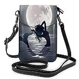 Lawenp Night Sea Mermaid Moon bolso bandolera para teléfono pequeño Mini bolso de hombro para teléfono celular billetera de cuero para mujeres y niñas