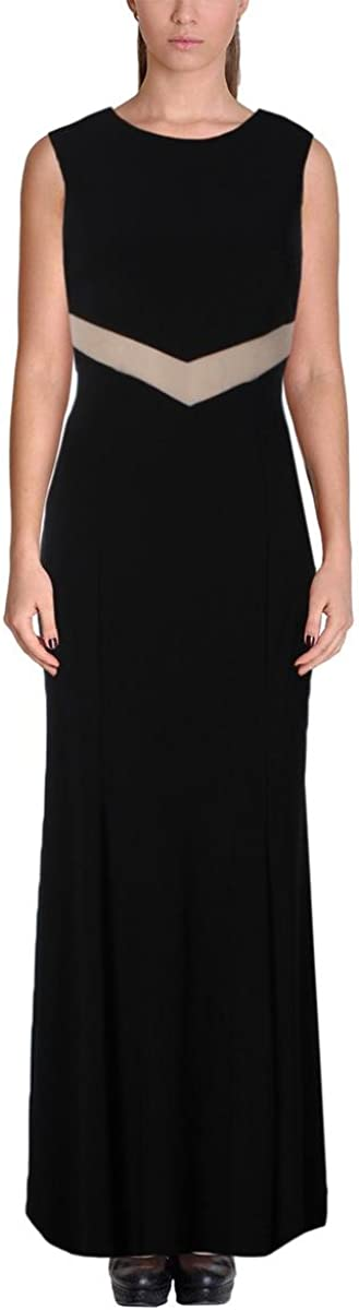 Betsy & Adam Women's Mesh Cutout-Back Sleeveless Gown