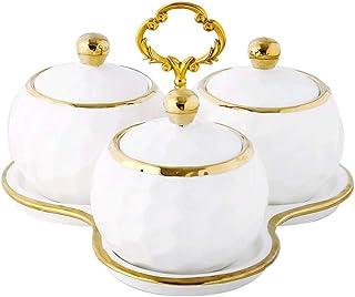 WZHZJ Stockage céramique Pot d'épices Fournitures de Cuisine ménage Condiment boîte Ensemble Trois pièces Costume Sucre sa...