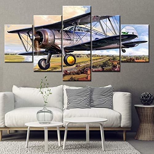 RMRM HD Wall Art Impreso Lienzo Decoración para El Hogar Sala de Estar 5 Unidades Gloster Gladiator avión Carteles Modulares Pintura