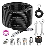 GregYoung Upgraded Sewer Jetter Kit for Pressure Washer,100FT Jetter Hose,Drain Cleaning Hose,Newest 5800PSI,Corner, Rotating and Button Nose Sewer Jetting Nozzle,1/4 Inch NPT,with Storage Strap