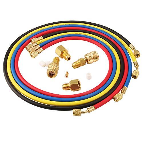 Lichamp 4 Pieces 5FT AC Manifold Gauge Hose Kit with 4 Pieces AC adapters Fits R134A R410A R404A R12 R22 R502 R1234YF Refrigerants