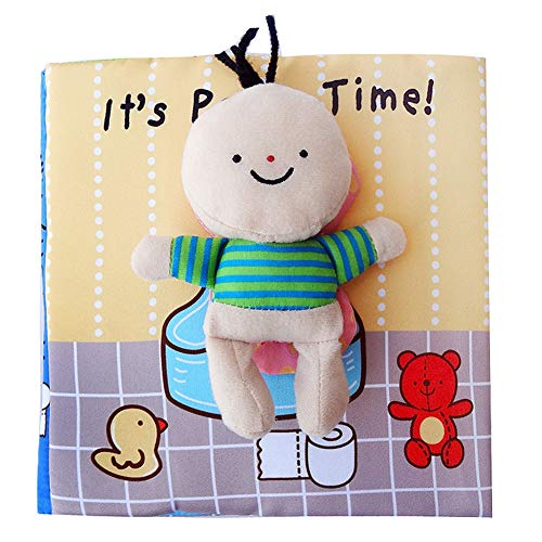 Yalatan Soft 3D Baby Cloth Book of Bath Toy, Potty Infant Desarrollo cognitivo temprano Libros silenciosos Libro de Actividades para niños