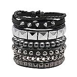 Eigso 4 Pcs Punk Leather Bracelet Hematite Black for Men Women Adjustable Spike Metal Cuff Bangle