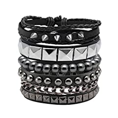 Specification: 8mm Stone Beads Bracelet And Adjustable Punk Leather Bracelet, Good Matching For Men And Women; 7-8 inches Adjustable Durable Elastic Rope, Easy To Fit To Your Wrist. Material: Stone: Hematite. Metal + Soft Pu Leather + Snap Button Cla...