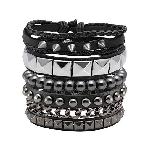 Eigso 4 Stück Punk Leder Armband Hämatit Schwarz für Männer Frauen Verstellbarer Spike Metall Manschette Armreif