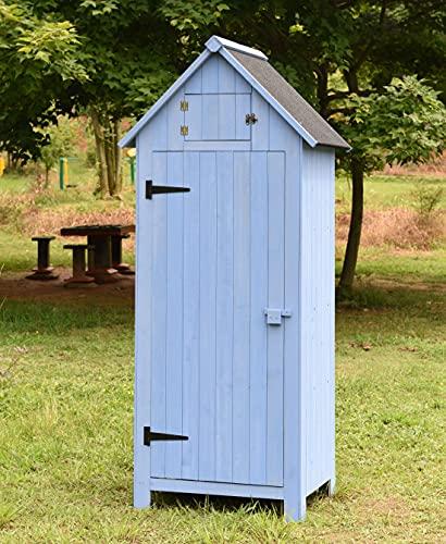 Holz Gartenschrank Blau Gartenhaus...