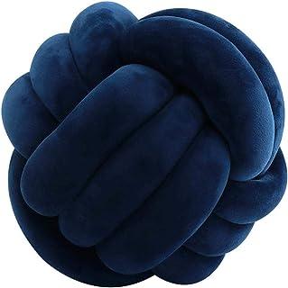 Veshow Cojín con forma de nudo de bolas, tejido a mano, 3 hebras de nudo de 35 x 35 cm, cojín decorativo para coche, sofá o habitación de los niños (azul marino)