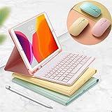 ワイヤレスマウス付き 2019 iPad Mini 5 mini 4 インチ キーボードケース 3点セット かわいい キャンディーカラー レディース アイパッド ミニ5 ミニ4 分離式 カラーキーボード付き ケース iPad mini5 mini4 カバー アップルペンシル収納可能 ペンホルダー付き 女性 人気 (iPadMini4/Mini5, 黄色)