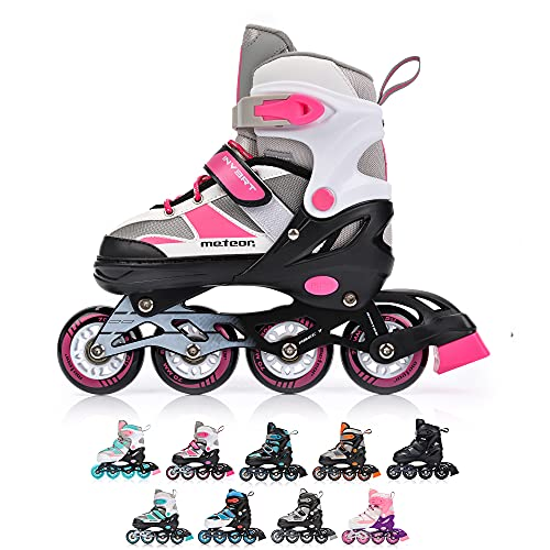 Inline Skates Children's Kids Inliners Roller Skates Roller Blades ABEC 7 Carbon Children's Inline Skates Adjustable Shoe Size INVERT (M, Pink/Grey)