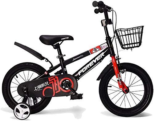 Bicicleta para niños con ruedas de entrenamiento desmontables de 2 a 13 años para niños y niñas de 12/14/16/18 pulgadas, color negro, rojo, azul y negro