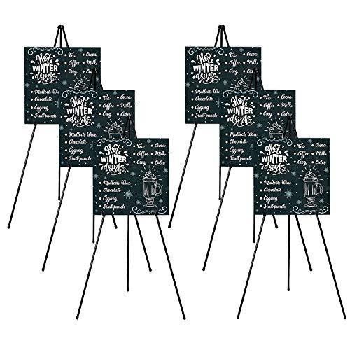 Folding Easel for Display, Portable Tripod, Easy-Set-up Floor Standing Poster Easel,Lightweight Metal Adjustable Display Easel, Base 63' Max. (Black, 6 Packs)