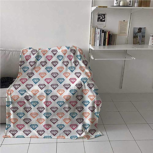 Bed Blanket Diamonds Air Conditioner Blanket Geometrical Precious Stone Best Gift for Women, Men, Kid, Teen 50x60 Inch