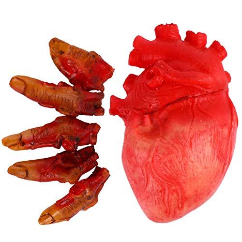 NUOBESTY 6Pcs Halloween Blutige Requisiten Gebrochene Finger Und Herz Gefälschte Realistische Blutige Tote Körperteile für Spukhausdekorationen