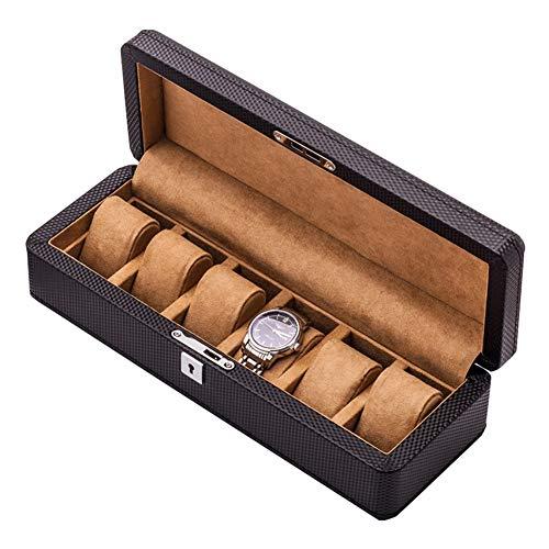 ZHAYEUK ZHAYEUK Leder Uhrenbox Uhrenkoffer 6 Uhren Einzel for Herren Damen, Groß Uhrenkasten männer Kasten Uhren Uhrenaufbewahrung for den Ehemann, (35 x 13 x 9 cm)