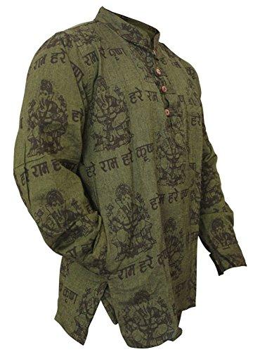SHOPOHOLIC FASHION Herren Leicht Festlich Hippie Hemd - Grün, L