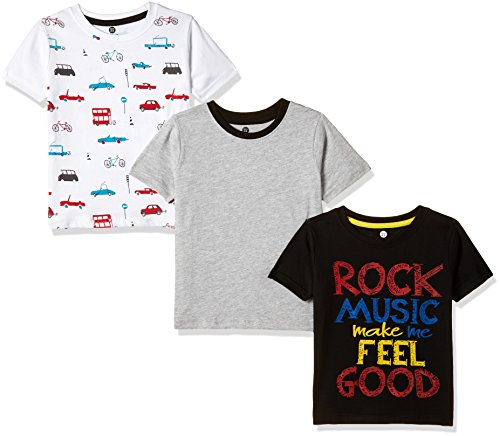 Cloth Theory Boys' Regular Fit T-Shirt (Combo Pack of 3)(CTKR 019_Multi_3-4 Years)