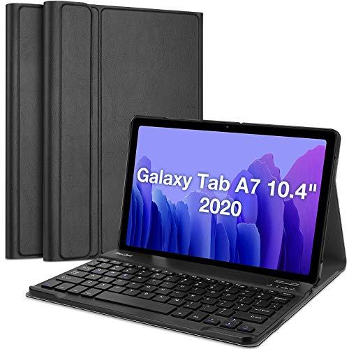 ProCase Custodia Tastiera per Galaxy Tab A7 10.4 2020[SM- T500 /T505 /T507][US-Layout], Cover Sottile Leggera Shell Sottile con Tastiera Wireless Staccabile Magnetica –Nero