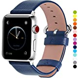 Fullmosa Compatible Apple Watch Band 38mm 40mm 42mm 44mm Leather Compatible iWatch Band/Strap Compatible Apple Watch SE & Series 6 Series 5 Series 4 Series 3 Series 2 Series 1,38mm 40mm Dark Blue